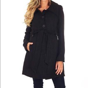 PinkBlush Black Wool-Blend Trench Coat